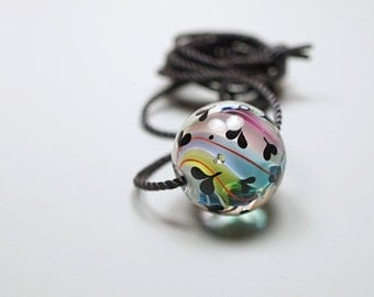 I Love You Gift // Colors Of Rainbow // I Love You // Murano Glass Pendant