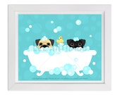 97D - Dog Print - Tan and Black Pugs in Bubble Bath Wall Art - Bathroom Decor - Bath Prints - Dog Wall Art - Pug Print - Pug Art - Bath Art