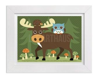 156 Moose Print - Moose, Hedgehog and Owl Wall Art - Moose Decor - Woodland Wall Art  - Owl Print - Moose Wall Art - Woodland Nursery Art