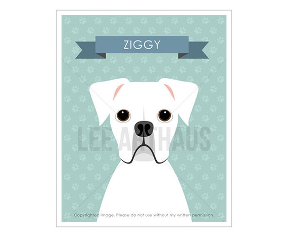 17N Dog Art - Personalized White Boxer Dog Wall Art - Dog Present - Gift for Dog Lover - Dog Nursery Prints - Dog Home Decor - Dog Prints