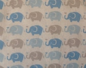 Baby Blanket and Burp Cloth...Blue and Gray Elephants