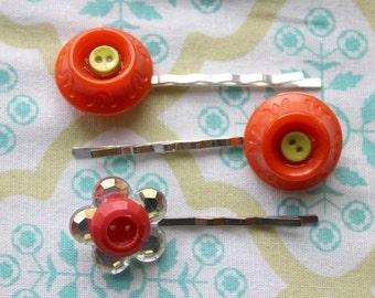 3 vintage orange button silver hair bobby pins,button,orange buttons,hair pins,button hair pins,orange button hair pins,,women,teens,girls