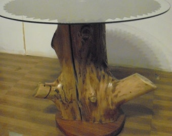 Antique Woodmill sawblade end table