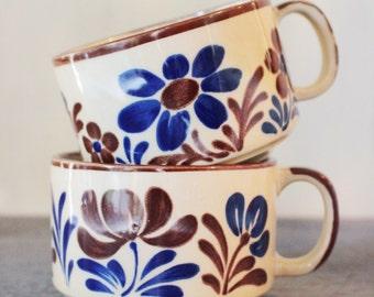vintage mugs - large floral stoneware soup mugs  - set of 2