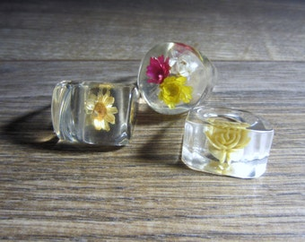 Lucite Rings with flowers - Three different ones