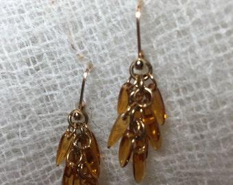 Golden Glass Handmade Gold Filled Lever Back Drop Earrings