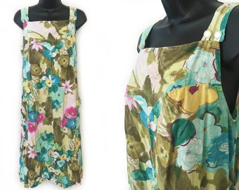 70s Sundress Green Aqua Yellow and Pink Abstract Floral Print Cotton Tent Dress M