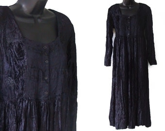 90s Black Crushed Velvet Babydoll Rayon Oversized Slouch Maxi Dress M