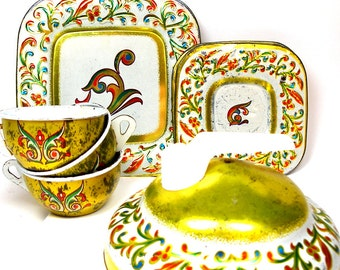 Florentine Tin Toy Tea Set, by J Chein Co, Made in USA. Tea for 3.