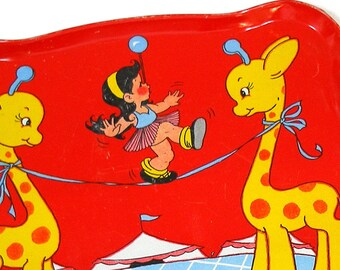 40s Circus, Kids tin toy tea tray with giraffes, graphics by Ohio Art.