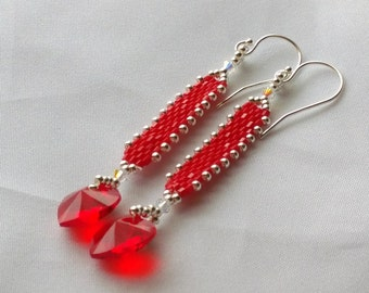 Hand Beaded earrings with Swarovski 10mm Red Crystal hearts, Bright Sterling Seed beads, Sterling silver ear wires