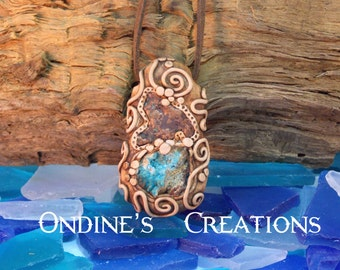 Copper Nugget , Hemimorphite Crystal Mineral Hand Crafted, Healing Stone Pendant #127