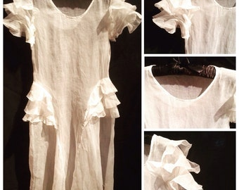 Vintage late 1920s-early 1930s GIRL'S White Organdy Dress with Ruffle Flutter Sleeves and Hip Ruffles