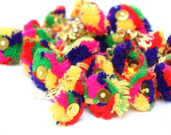 Small Pompom Tassles,Indian Small Latkans,Tribal Tassles Small, 10 Pieces,Pom Pom Multi Colored,Colorful Latkans, Ethnic,Gypsy, Belly Dance