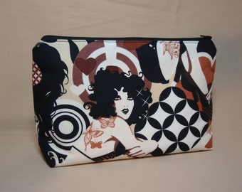 Mod Gals - Large Padded Cotton Cosmetic Bag Zipper Pouch Inside Pocket