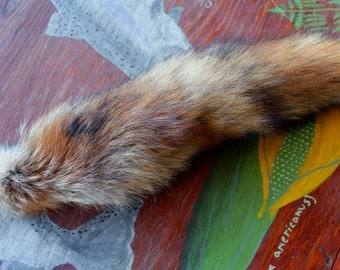 Fox tail - real eco-friendly red fox fur totem tail on extra strong braided leather belt loop for shamanic ritual and dance RF01