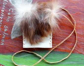Recycled leather necklace pouch with amber fox fur flap for crystals, herbs, fetiches, medicine, and other small sacred objects