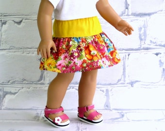 18 inch Doll Clothes Bright Flowers Skirt, American made, Girl Doll Clothes, Doll Twirl Skirt