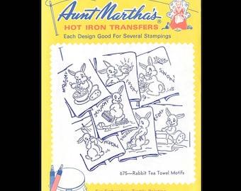 Aunt Martha's Rabbit Tea Towel Motifs - Embroidery Transfers 675