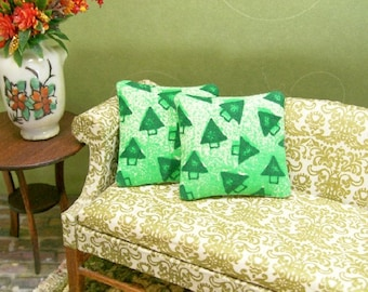Mod Christmas Tree Pillows Green 1:12 Dollhouse Miniatures Scale Artisan