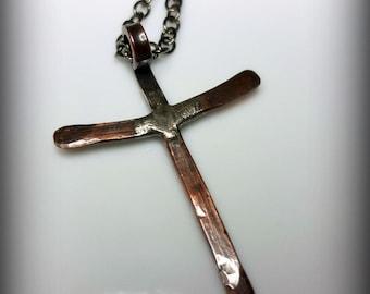 Rustic Cross Necklace, Copper, Silver, Men's Necklace, Women's Cross Necklace, Spiritual, Distressed, Primitive, Short Chain, Long Chain