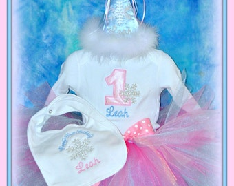 4 Pc. Set, Winter One-derland Birthday Hat, Bib, Onsie, and TUTU  Snowflake Birthday, sizes 6, 9. 12,18, 24 morths