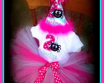 Itsy Bitsy Spider Cake Smash  1st or 2nd Birthday, Birthday Hat,  Bodysuit and TUTU,    by Gingham Bunny