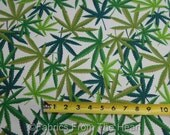 Marijuana Weed Herb Cannibas Nature on White BY YARDS Alexander Henry Fabric