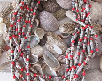 Red gray paper beads long multistrand necklace