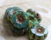 10% off BLUE OPAL PANSIES .. 6 Picasso Czech Glass Flower Beads 11-12mm (5087-6)