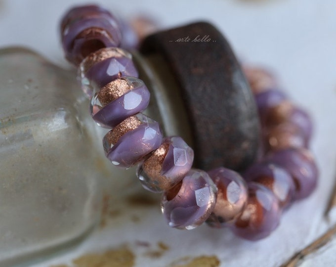 LILAC COPPER ROLLERS .. 10 Premium Picasso Czech Glass Large Hole Roller Beads 6x9mm (5065-10)