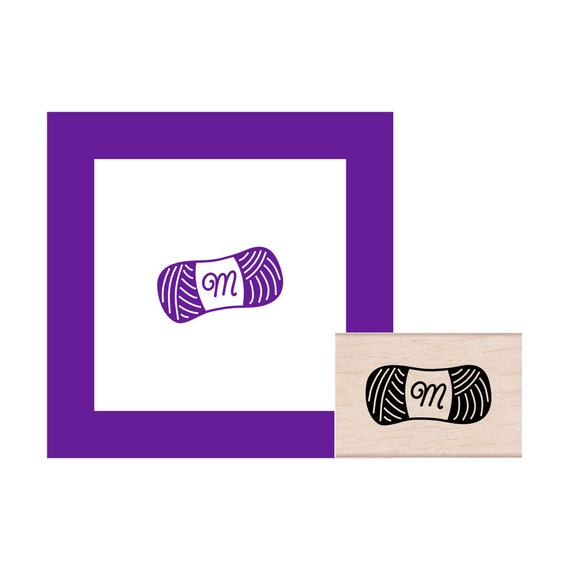Yarn Skein with Monogram Rubber Stamp