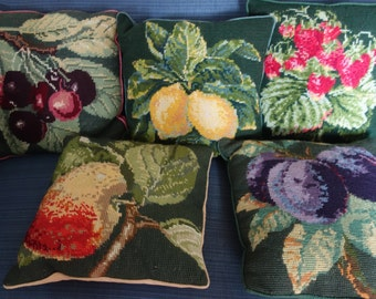5 beautiful tapestry fruit cushion covers 14x13 inches
