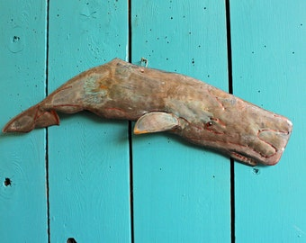 Sperm Whale - copper metal Moby Dick marine mammal art sculpture - wall hanging - with red-brown patina - OOAK