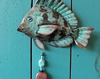 Tang Fish - copper fish sculpture  - with blue and naturally-aged patinas and gemstone bead dangle - OOAK