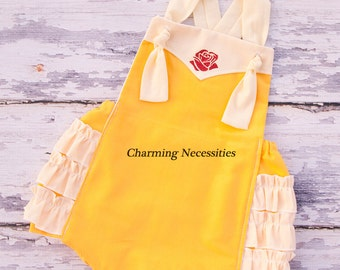 Belle Baby Girl Sunsuit Romper Bubble, Halloween Costume, Beauty Beast - by Charming Necessities Princess Belle Vintage Inspired
