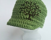 Baby Boys Hat Tree of Life Hat Cotton Hat Summer Hat Baby Hat Baby Boy Beanie Green Hat Photo Prop Infant Toddler 2T 3T 4T - MADE TO ORDER