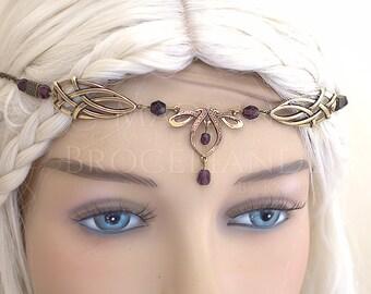 Érin Celtic Circlet Medieval Faery Tiara Bronze Purple Velvet / Amethyst