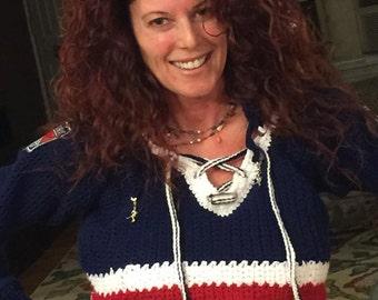 New York Rangers Hand Crochet Ladies  Cropped Sweater Top