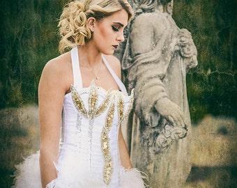 Victoria Velvet Great Gatsby Corset Costume Dress OOAK  S - M