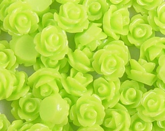 CLEARANCE Cabochon Flower 20 Resin Round Rose Light Green Flower 10mm (1017cab10m8-13)os