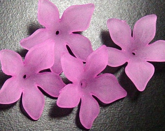 Acrylic Bead 8 Pink Flower Star Daisy 5-Petal Frosted 27mm x 7mm (1019luc27m4-8)