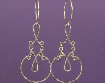 ALLURE GOLD EARRINGS, gold filled original scroll design earrings