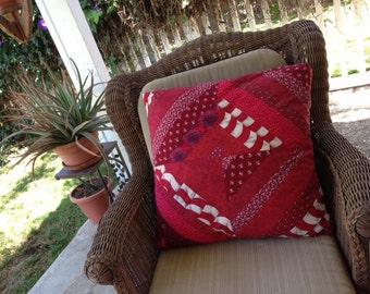 Blue and Red reversible Scrappy Strip Quilted Pillow