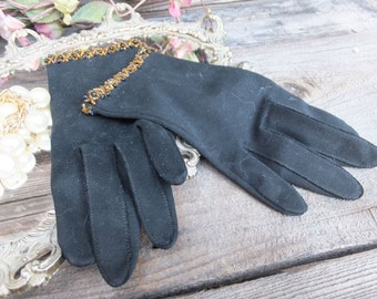 Vintage Glamorous Black Beaded Gloves by Hansen,  Washable Gloves, size 6