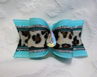 "DOG BOW-  7/8"" Aqua Snow Leopard SL Dog Bow"
