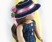 American Girl Doll Dress and Hat 18 inch Doll Dress and Hat Navy Blue and Pink Doll Dress and Hat Summer Doll Dress American Girl Doll