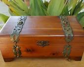 Small Vintage Cedar Chest Jewelry Box, Brass Straps  Treasure Chest
