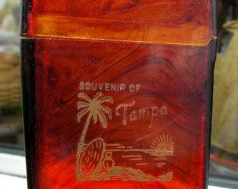 Faux Tortise Shell Celluloid Tampa Cigarette Case Beach Scene 1950s Retro Case Vintage Souvenier