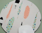 Buy 2 FREE SHIPPING Special!!   Mouse Pad, Fabric Mousepad    Feathers on White